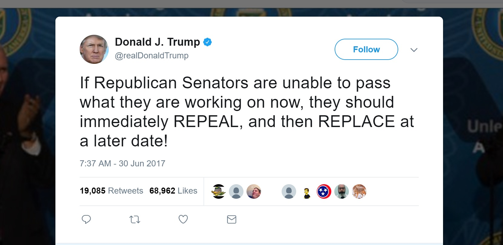 Repeal Now, Replace Later: Trump Just Called For 32 ...