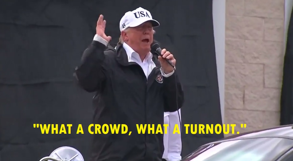 While Visiting Disaster Zone, Trump Tells Hurricane Harvey Victims: 'What A Crowd, What A Turnout!'