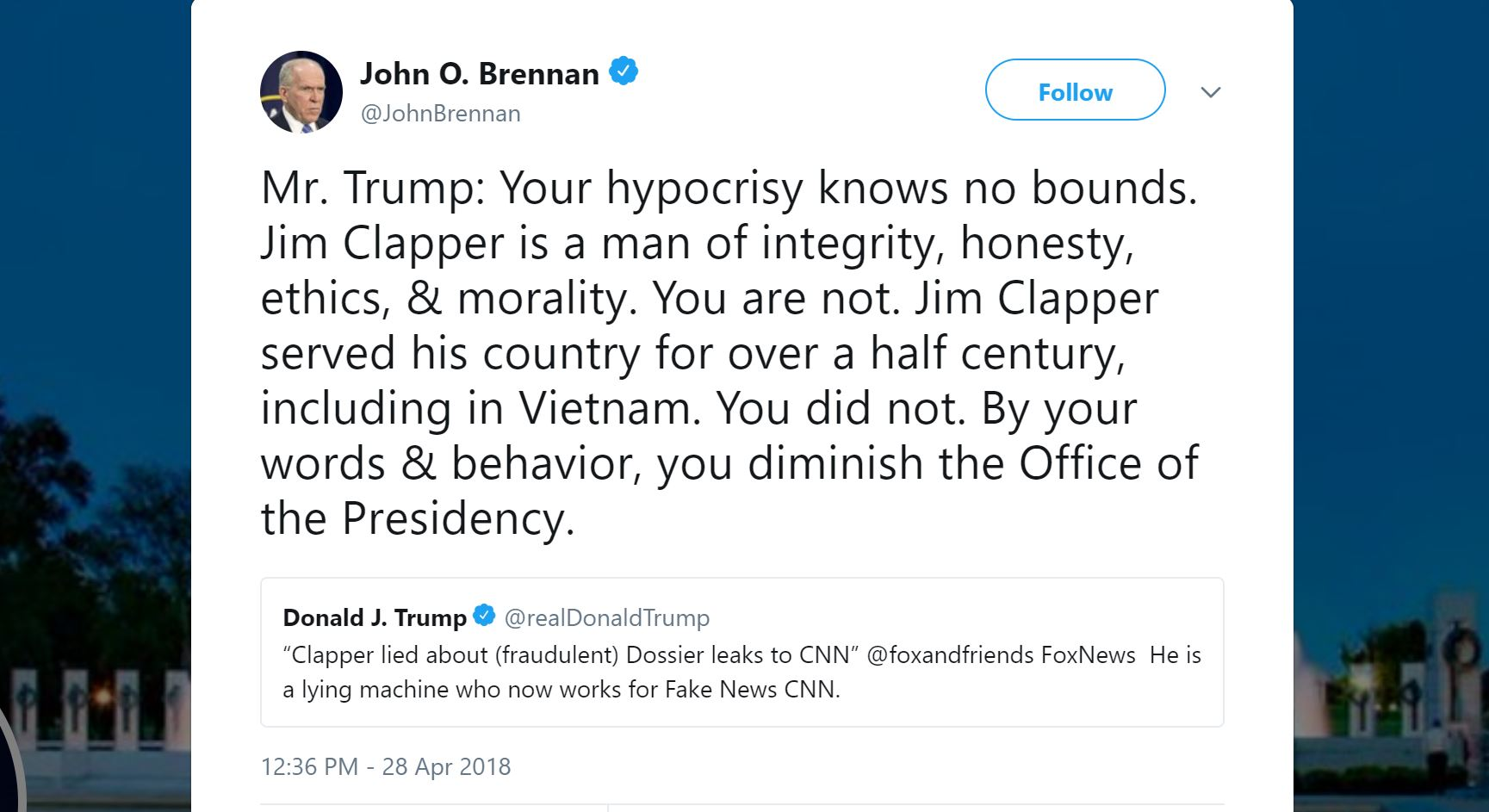 Ex-CIA Director Rips Trump: \'You Diminish The Office Of The Presidency\'