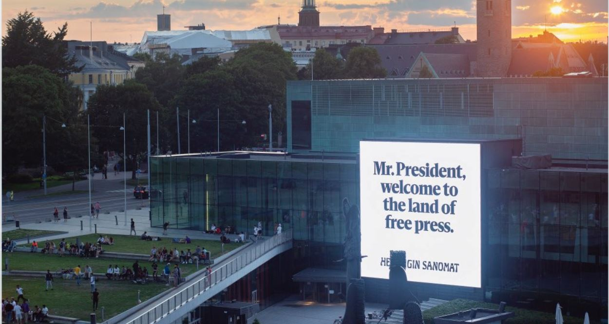 Largest Newspaper In Finland Trolls Trump-Putin Summit With Billboards About Freedom Of The Press