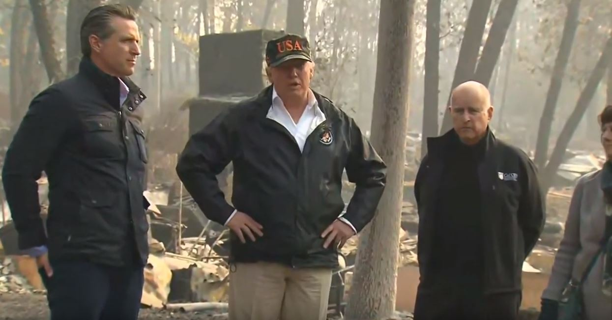 Trump Again Blames Wildfires On California's Failure To Rake Forests As He Tours Burned Town Of Paradise